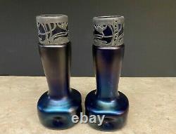 Antique Dimpled Austrian Art Nouvean Blue Iridescent Glass Vases LOETZ STOLZLE