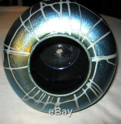 Antique Durand USA Blue Hearts & Vines Floral Urn Art Glass Flower Vase Steuben