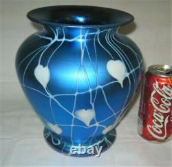 Antique Durand USA Blue Hearts Vines Floral Urn Art Glass Flower Vase Us Steuben