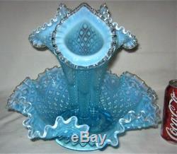 Antique Fenton USA Sea Blue Hobnail Opalescent Art Glass Flower Epergne Urn Vase
