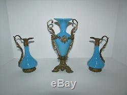 Antique French Blue Opaline Glass with Bronze Mount Vase Ewers Set 624