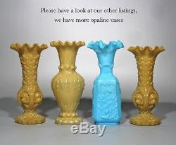 Antique French Opaline Blue Milk Glass Vase, Fauns and Roses, Signed Portieux