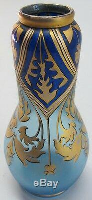 Antique Iridized Blue BOHEMIAN ART NOUVEAU Glass Vase with Gilt Decoration c. 1900