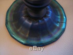 Antique L. C. T. Tiffany Blue Favrile Iridescent Art Glass Trumpet Vase