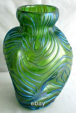 Antique Loetz Glass Blue Green Studio Creta Formosa iridescent vase Art Nouveau