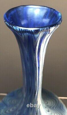 Antique Loetz Glass Footed Vase Pg 6893 9 1/2 Inches Blue Xlnt
