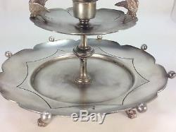 Antique Mary Gregory Silver Plate Epergne Centrepiece Vase Blue Glass
