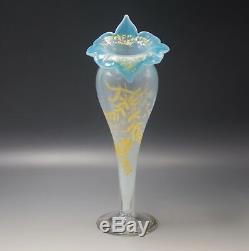 Antique Moser Bohemia Jack In The Pulpit Trumpet Vase 12 Opalescent Enamel