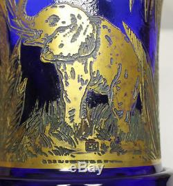 Antique Moser Vase blue cameo glass Elephants