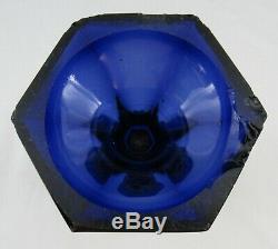 Antique New England Dark Blue Three Printie Block Flint Glass Celery Vase