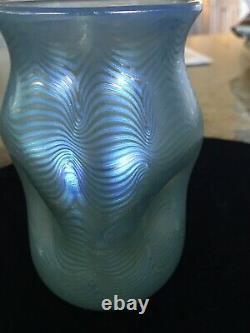 Antique RARE 1899 Blue Loetz Austria Signed Phanomen Pulled Feather Pinched Vase