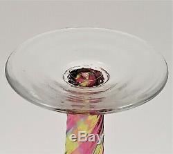 Antique Rainbow Glass Ribbed Swirl Bud Vase Crimped Rim Pontil Stevens Williams