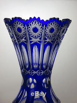 Antique Rare Bohemian Crystal Hobstar Cut To Clear Cobalt Blue Vase-14 Tall