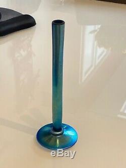 Antique Steuben Art Glass Bud Vase Blue Aurene Finish c 1920 Carder Era Signed