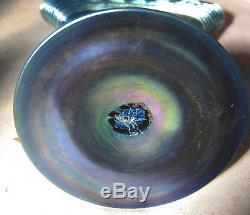 Antique Steuben Blue Aurene Art Deco Glass Fan Flower Garden Vase # 6287 Mint