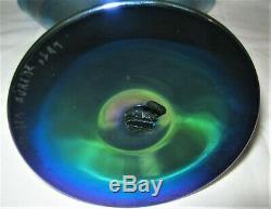 Antique Steuben Blue Aurene Art Deco Glass Fan Flower Garden Vase # 6297 Mint