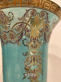 Antique Style Trumpet Glass Vase In Blue with Brass Base Hand Painted-15,5H