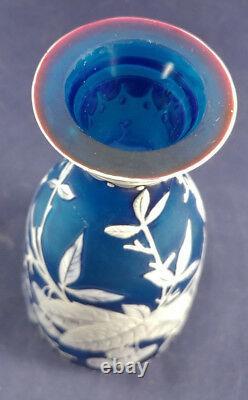 Antique Thomas Webb & Sons 3-color Blue Cameo Art Glass Vase 8-3/4