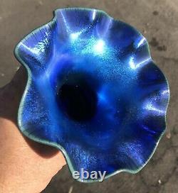 Antique Vintage Art Glass Vase Victor Durand Blue Aurene Hearts Shape #1723
