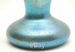 Antique Vintage Art Nouveau Blue Iridescent Aurene Glass Vase 6.25