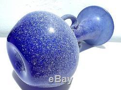 Antique Volcanic Venetian Murano Deep Blue Art Glass Bubbles Vase Barovier