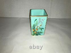 Antique french enamel painted opaque/opaline blue glass square bud vase 61/8
