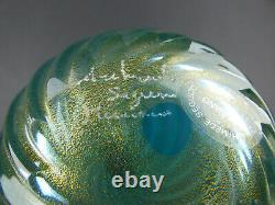 Archimede Seguso blue a coste glass vase with gold leaf signed & label Italy