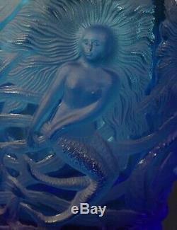 Art Deco 1930s VERLYS Cobalt Blue French Art Glass Vase MERMAIDS Pierre D'Avesn