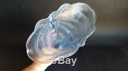Art Deco Powder Blue Frosted Walther & Sohne Schmetterling Glass Vase c1930's AF