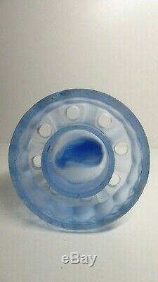 Art Deco Uranium Blue Glass Float Bowl Vase Centre Statue Lady Pressed Figurine