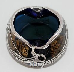 Art Nouveau Loetz Ophir Blue Vase Silver Overlay Antique Bohemian Glass 1904