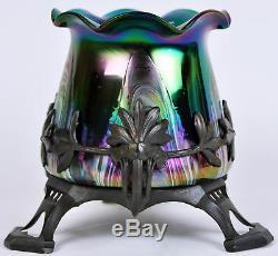Art Nouveau Metal Mounted Vase Secessionist Antique Blue Green Glass Iridescent