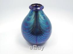 Artist Signed Pulled Peacock Feather Blue Iridescent Art Glass Vase, 5 3/4
