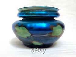 Authentic L C Tiffany Favrile Blue Iridescent Pulled Leaf Lily Pad Glass Vase