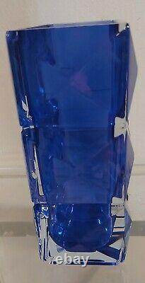 BACCARAT BLUE LUXOR 8 1/4 VASE RETAILS $990. SIGNED (STUNNING)NEWithWithTAG NO BOX