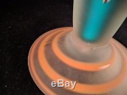 BAIJAB AZERBAIJAN RUSSIAN Art Glass Vase with Handle BLUE 16.5