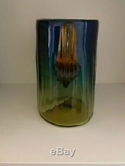 BLENKO CACTUS VASE 7 Tall Yellow Blue Amber Blown Glass