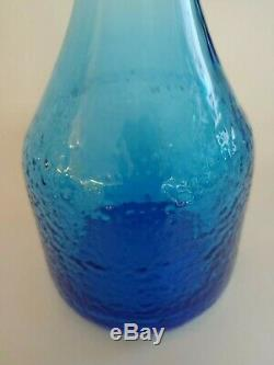 BLENKO by Joel Myers, blue glass flat top vase/bottle midcentury modern