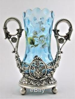 BLUE Victorian Art Glass CELERY VASE enamel floral James W. TUFTS silver frame