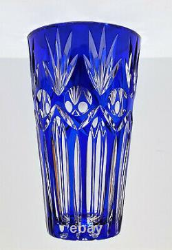 BOEHMIAN CZECH COBALT BLUE Cut to Clear Tapered Crystal VASE 10