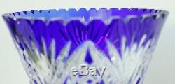 BOHEMIAN CZECH COBALT BLUE 10 Saw-Tooth, CUT TO CLEAR CRYSTAL VASE