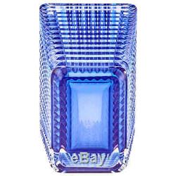 Baccarat Crystal Rectangular Eye Vase Blue
