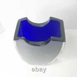 Baccarat Oceanie Tall Crystal Vase Cobalt Blue