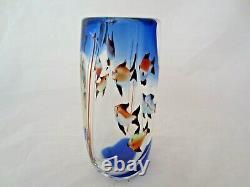 Barbini Fish tank Aquarium glass vase, Cobalt Blue, fish, bubbles & reeds c1960s