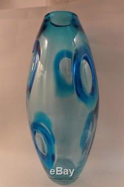 Barovier Murano rare blue Applicazione vase 1960s 14H Perfect