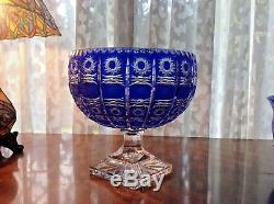 Beautiful Large Bohemian Cobalt Blue Cut to Clear Footed Crystal Bowl Czech vase