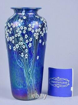 Beautiful Orient and Flume Early XLarge Art Glass Iridescent Vase Signed & Dated