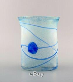 Bertel Vallien for Kosta Boda, Sweden. Vase in light blue mouth blown art glass