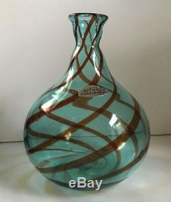 Blenko 6 in. Blue Swirl Balloon Line Vase Paper Label Vintage