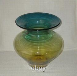 Blenko Art Glass Blown Blue & Amber 11 3/4 Ombre Vase
